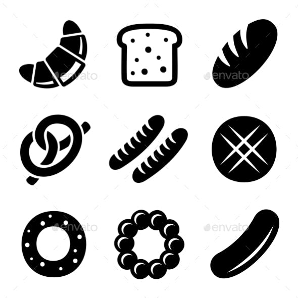 Bakery And Bread Icons Set