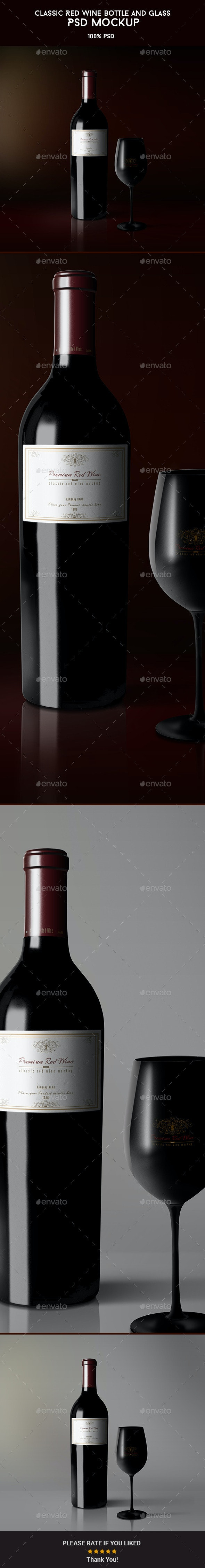 Classic Red Wine Bottle and Glass Mockup - Food and Drink Packaging