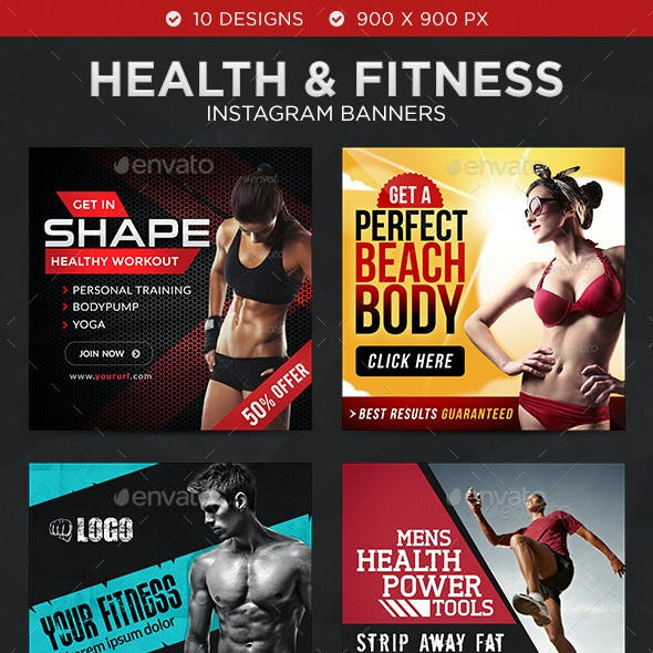 Health & Fitness Instagram Templates - 10 Designs