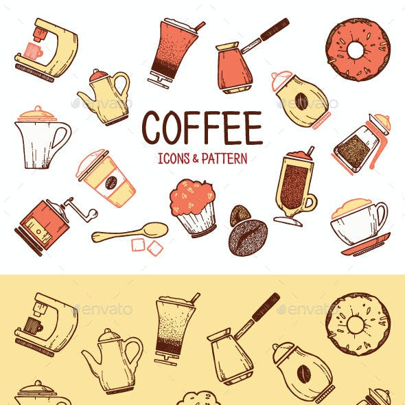 Cooffe icons & pattern