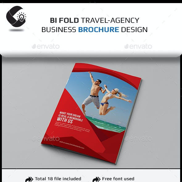 Travel Agency Bifold Brochure Template