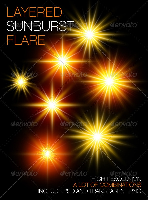 Layered Sunburst Flare - Flourishes / Swirls Decorative