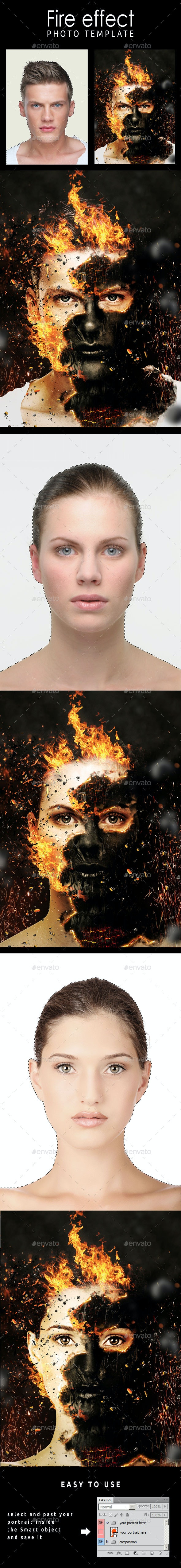Fire Effect Photo Template - Photo Templates Graphics