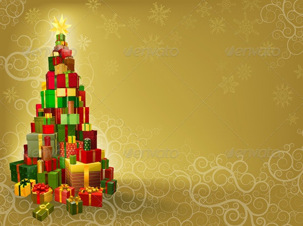 Christmas background with gifts tree - Christmas Seasons/Holidays