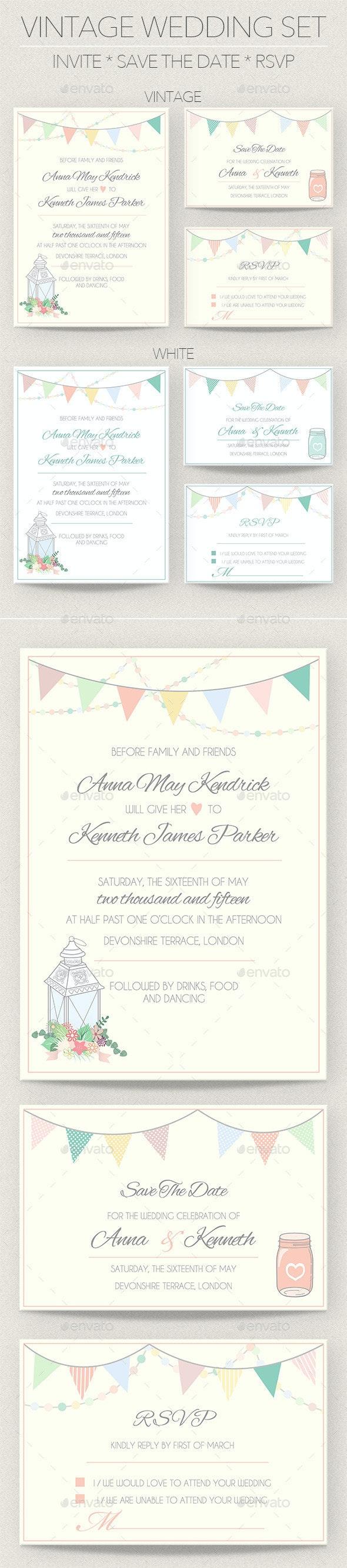 Vintage Wedding Invitation Set - Weddings Cards & Invites