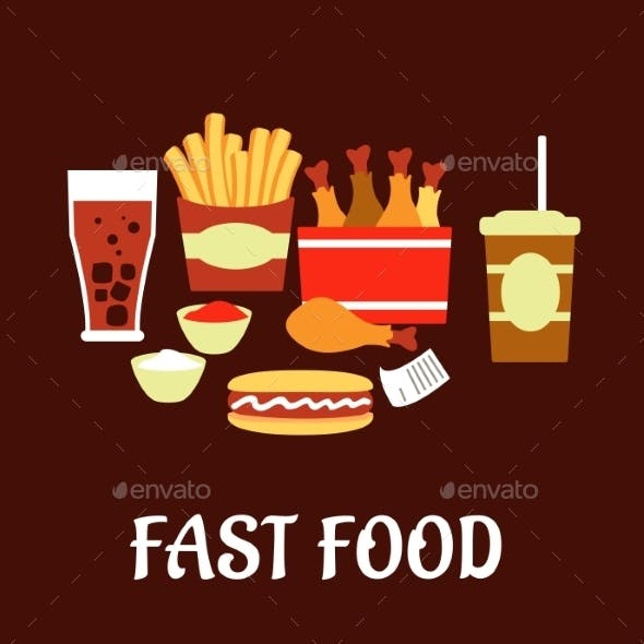 Fast Food Snacks And Drinks Set In Flat Style