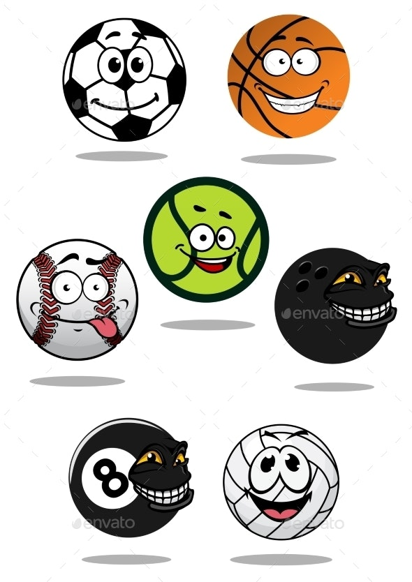 Cute Cartoon Sports Balls Mascot Characters By Vectortradition Graphicriver