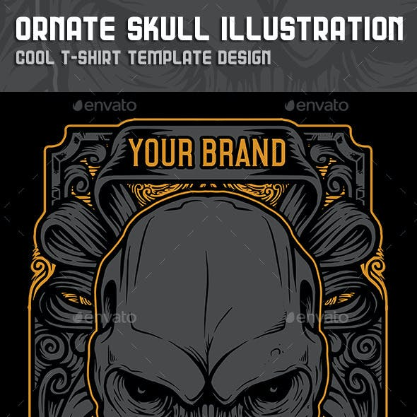 Ornate Skull Illustration Tshirt Design Template