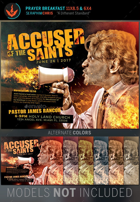 Accuser of the Saints Church Flyer Template - Church Flyers
