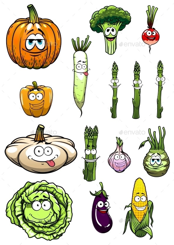 Colorful Happy Garden Vegetables Cartoon - Food Objects