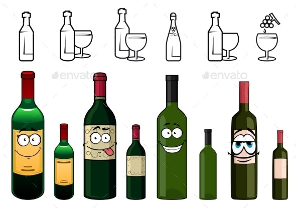 Cartoon Characters Of Wine Bottles In Various - Food Objects