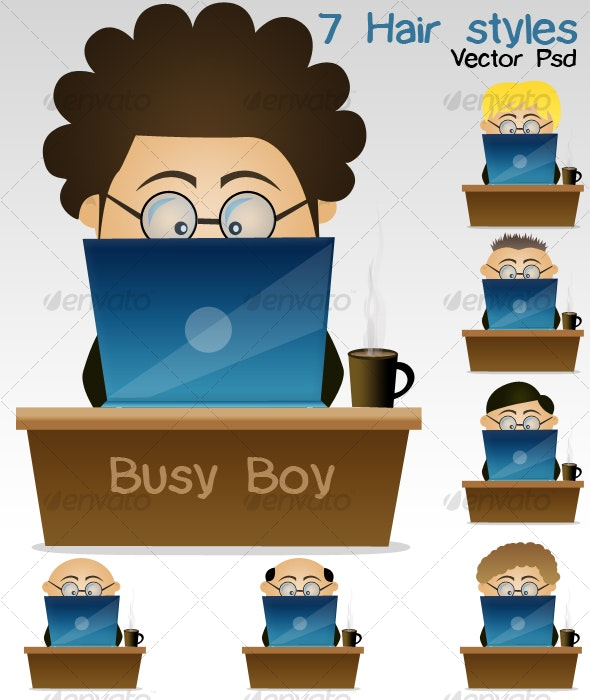 Busy boy  - People Illustrations