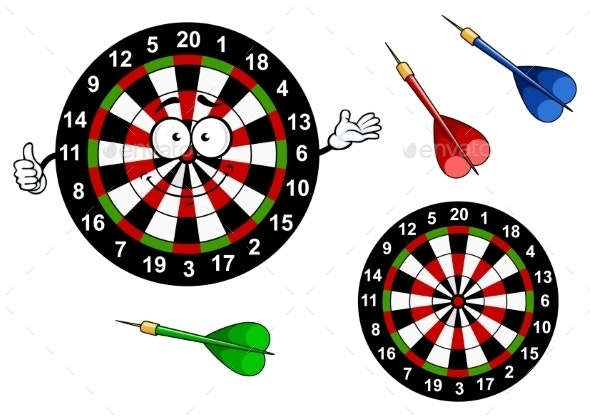 Cartoon Dartboard Target Character With Colorful - Sports/Activity Conceptual