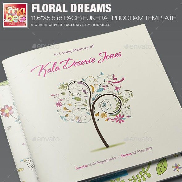 Floral Dreams Funeral Program Template