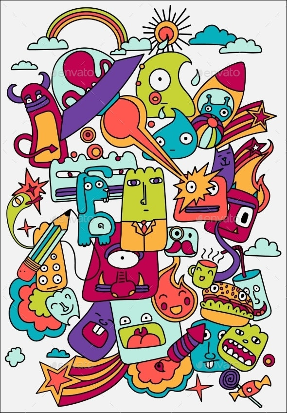 Cute Crazy Doodles Life Vector Illustration - Monsters Characters