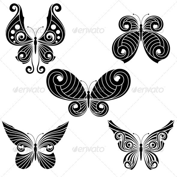 Set  of butterflies - Miscellaneous Characters