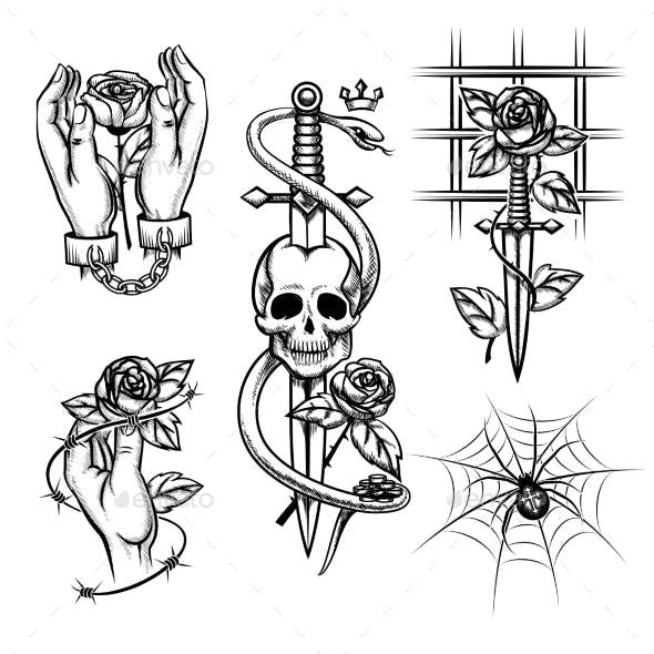 Criminal Tattoo. Rose In Hands Of Knife Behind