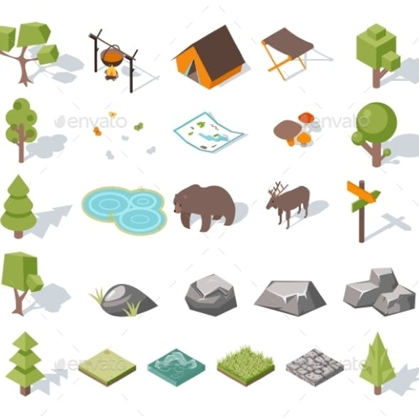 Isometric Forest Camping Elements For Landscape