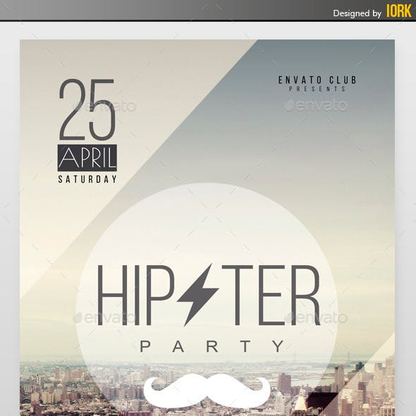 Minimal Hipster Party Flyer