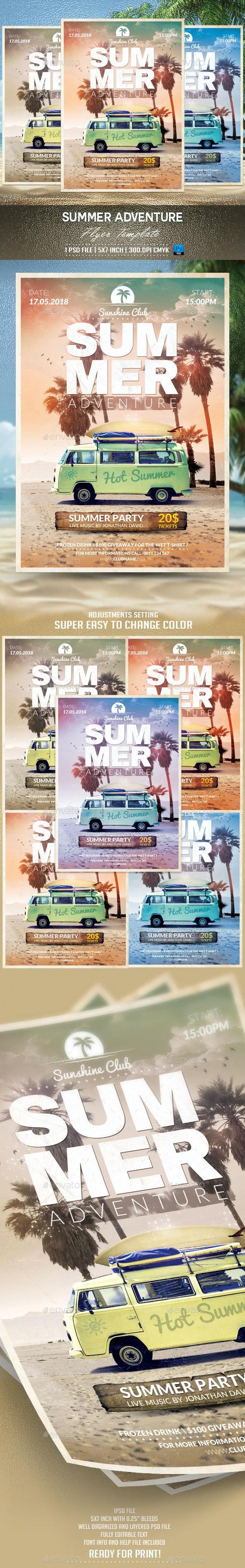 Summer Adventure Flyer Template - Events Flyers