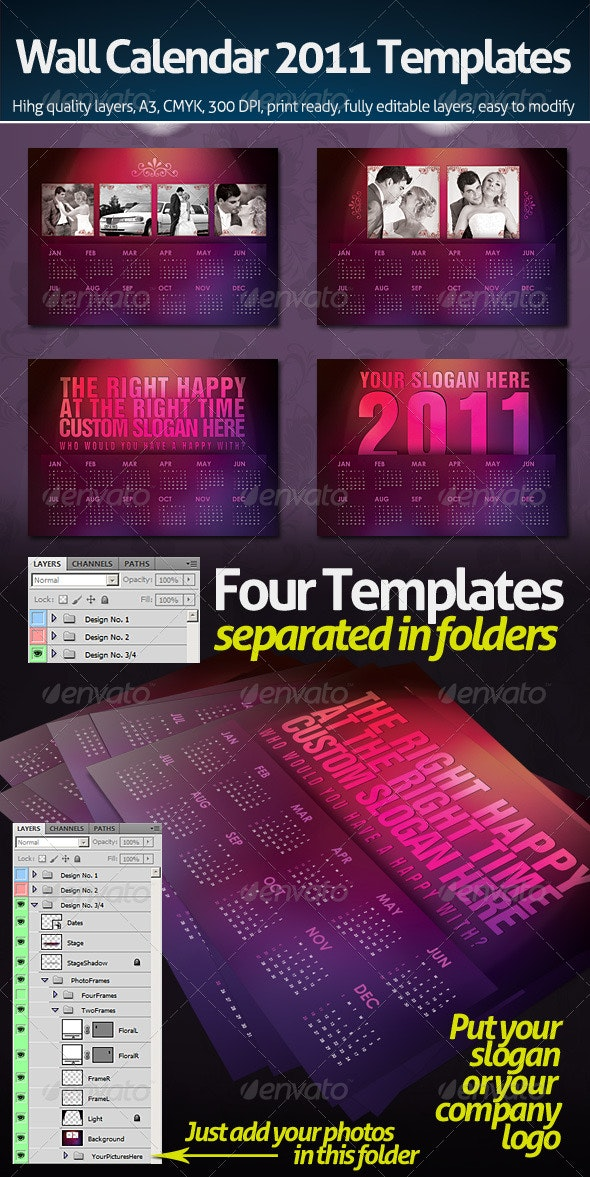Wall Calendar 2011 with four templates - Calendars Stationery