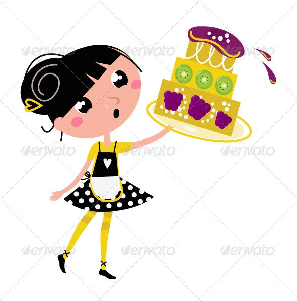 Retro kitchen girl with big fruity cake - Food Objects
