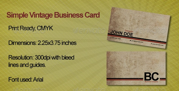 Simple Vintage Business Card - Retro/Vintage Business Cards