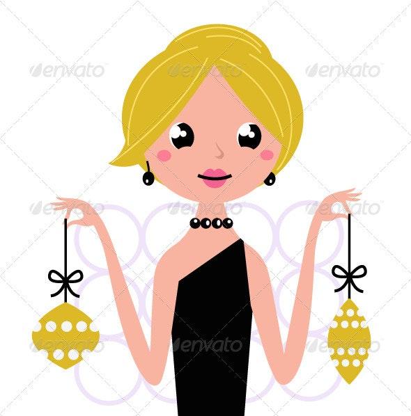 Retro woman New Year wish isolated on white - Christmas Seasons/Holidays
