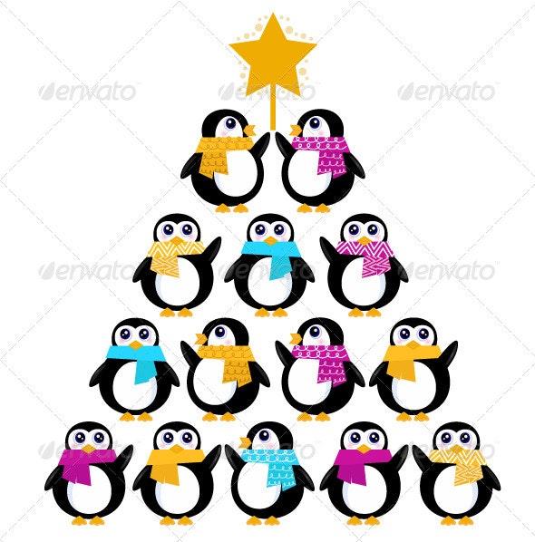 Cute penguins creating christmas tree - New Year Seasons/Holidays