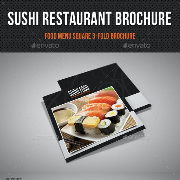 Sushi Restaurant Menu Square 3-Fold Brochure 01