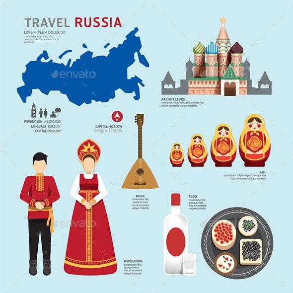 Travel Concept Russia Landmark Flat Icons Design - Travel Conceptual
