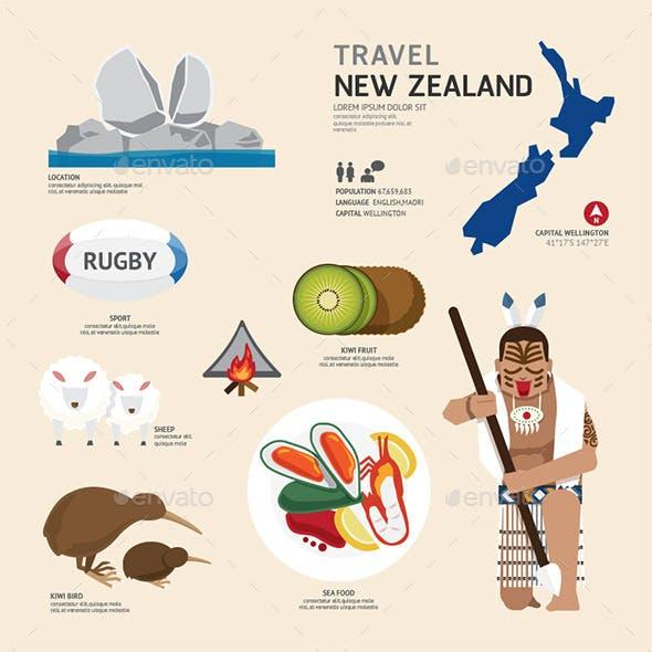 Travel Concept New Zealand Landmark Flat Icons