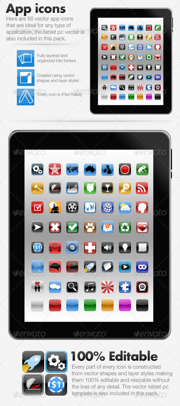 App Icons + Tablet PC PSD - PSD Vector - Software Icons