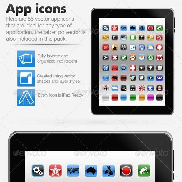 App Icons + Tablet PC PSD - PSD Vector