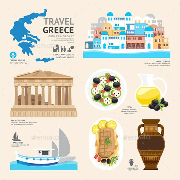 Travel Concept Greece Landmark Flat Icons Design