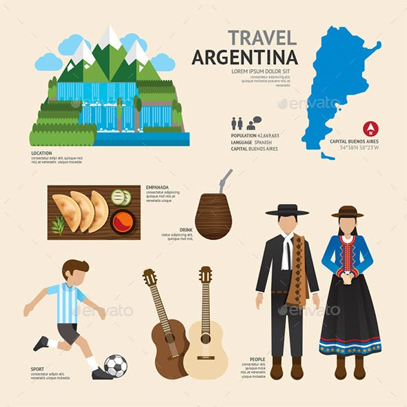 Travel Concept Argentina Landmark Flat Icons