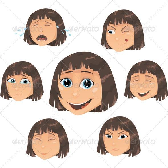 Vector girl - facial expressions
