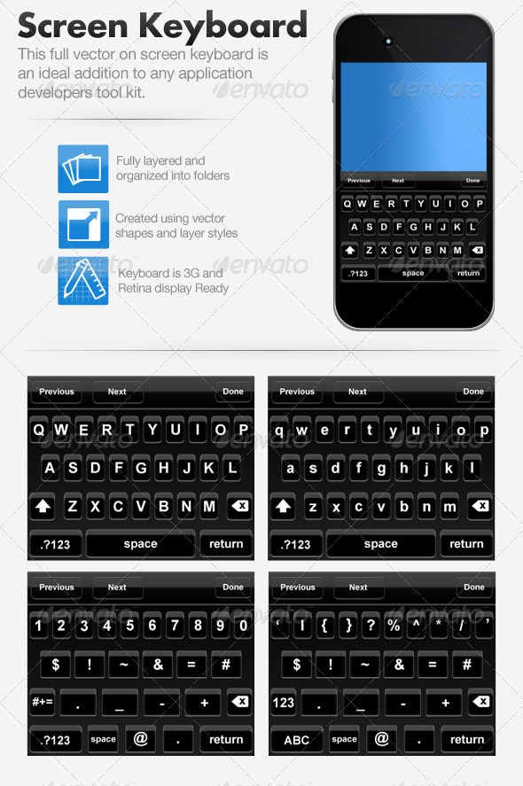 Smart Phone Onscreen Qwerty Keyboard - Buttons Web Elements