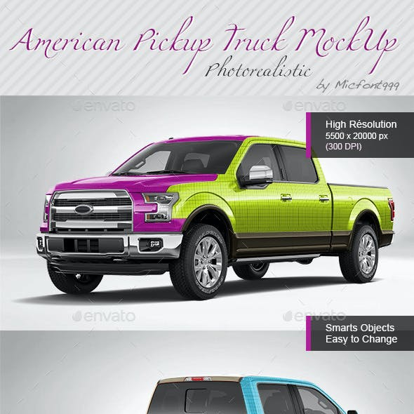 Photorealistic American Pickup Truck Wrap Mock-up
