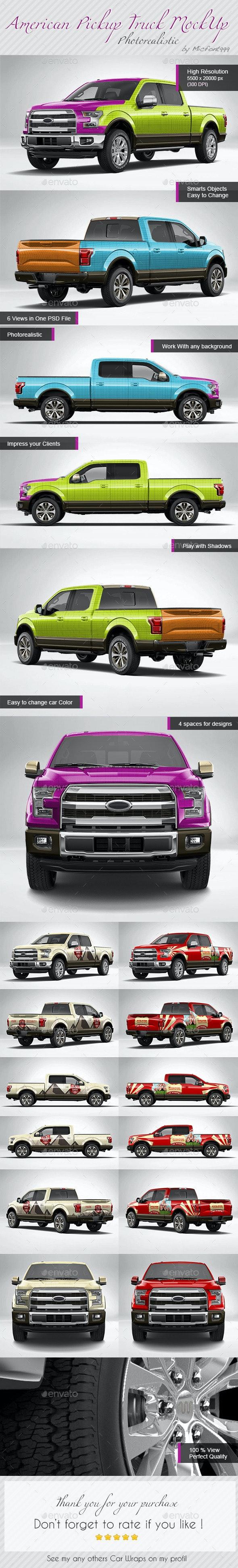Photorealistic American Pickup Truck Wrap Mock-up - Vehicle Wraps Print
