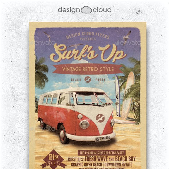 Surf's Up Retro Beach Party Flyer Template