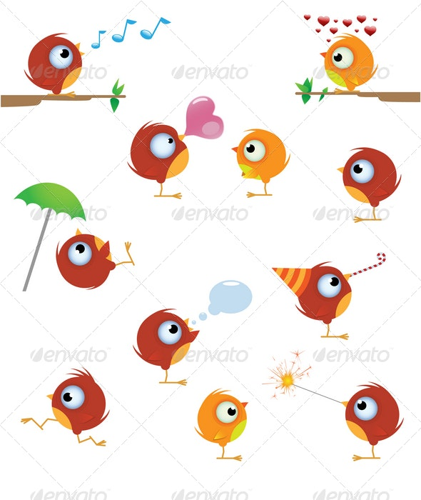 Cartoon bird set - Animals Characters