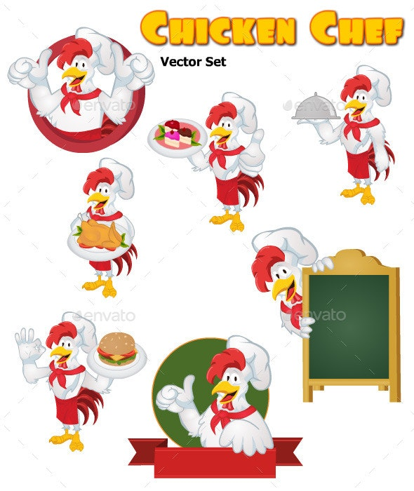 Chicken Chef Vector Set - Animals Characters