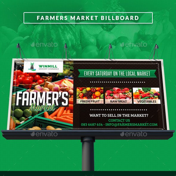 Farmer's Market Commerce Signage Bilboard