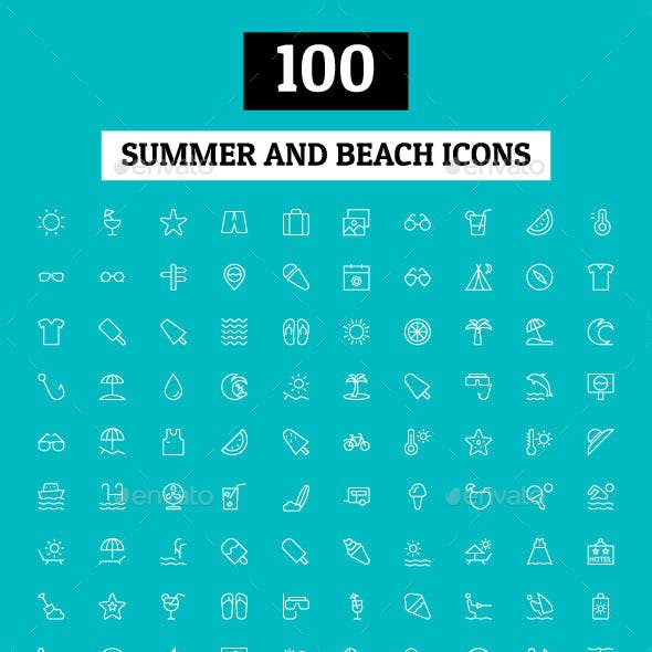 100 Summer and Beach Icons