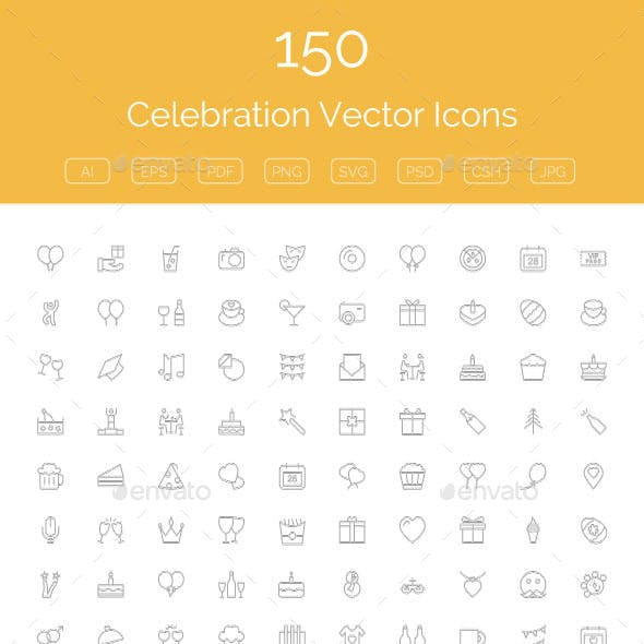 150 Celebration Vector Icons