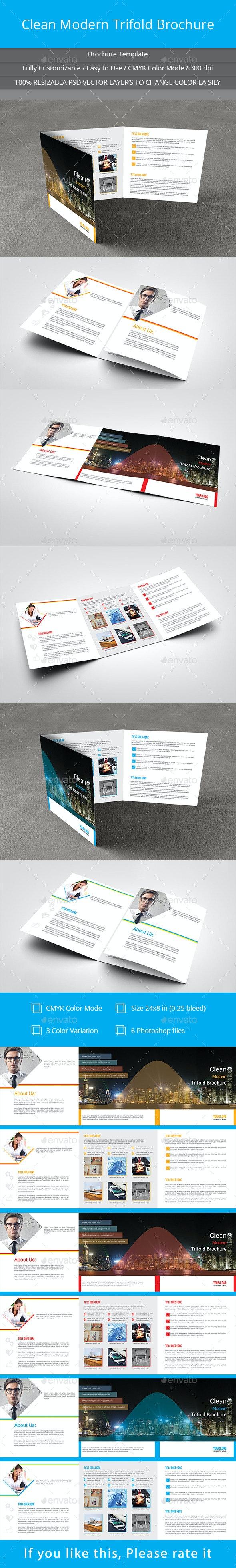 Clean Modern Trifold Brochure  - Brochures Print Templates