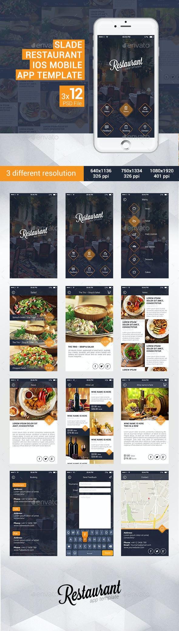 Slade Restaurant iOS Mobile App Template - User Interfaces Web Elements