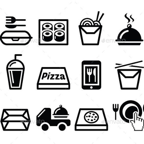 Take Away Box, Meal Vector Icons Set