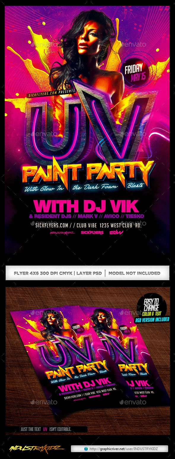 UV Paint Party Flyer - Clubs & Parties Events